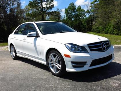 2014 MERCEDES BENZ C250 BASE - WHITE ON BEIGE