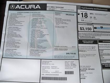 2013 ACURA MDX TECHNOLOGY PACKAGE - RED ON BEIGE 7